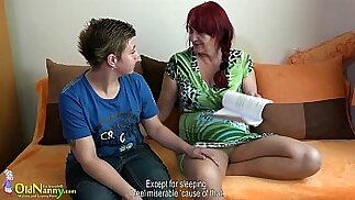 OldNanny Lesbian granny and teen girl with round huge dildo