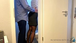 boss meets secretary on the office restroom business bitch