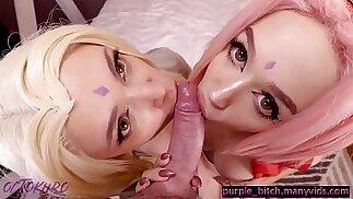 Tsunade and Sakura enjoy sex with big cock and toys