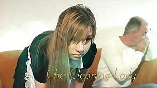 OMG My dad fucks young cleaning lady after she seduces him with his tight pussy sexy outfit she sucks cock and lets the daddy fuck her wet pussy hardcore on the couch