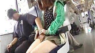 small girl.f. in public bus