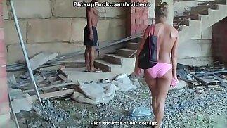 girl sucks for money in an abandoned building