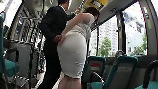asian Busty Chubby milf public bus fuckin