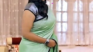 Most Wanted Curvy Aunty Back again in satin saree