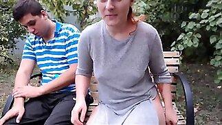 Busty Czech amateur fucks outdoor in public