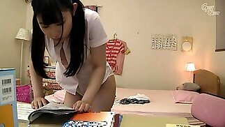 Naughty Japanese schoolgirl with perfect boobs loves to fuck